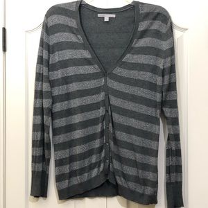 Old Navy Metallic Cardigan Striped Silver Size XL